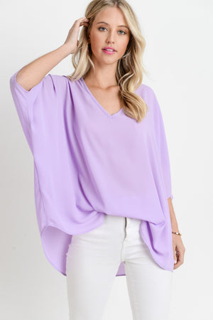 Women's V-Neck Tunic- Lilac
