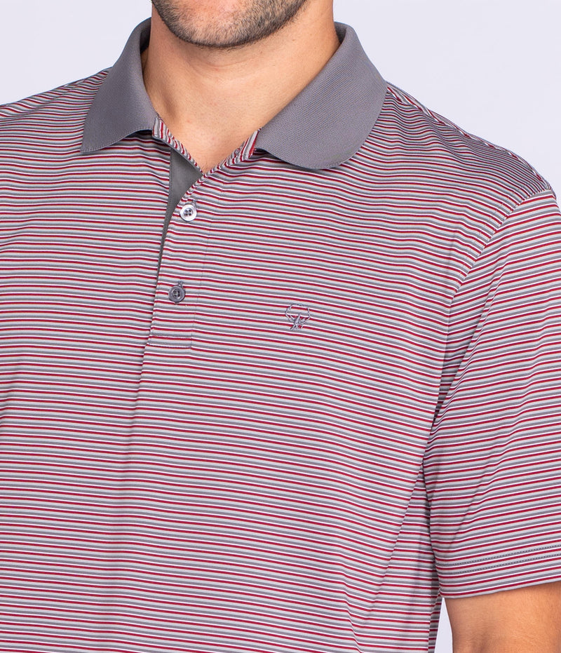 Men's Southern Shirt Company Rutledge Stripe Polo- Red Coal