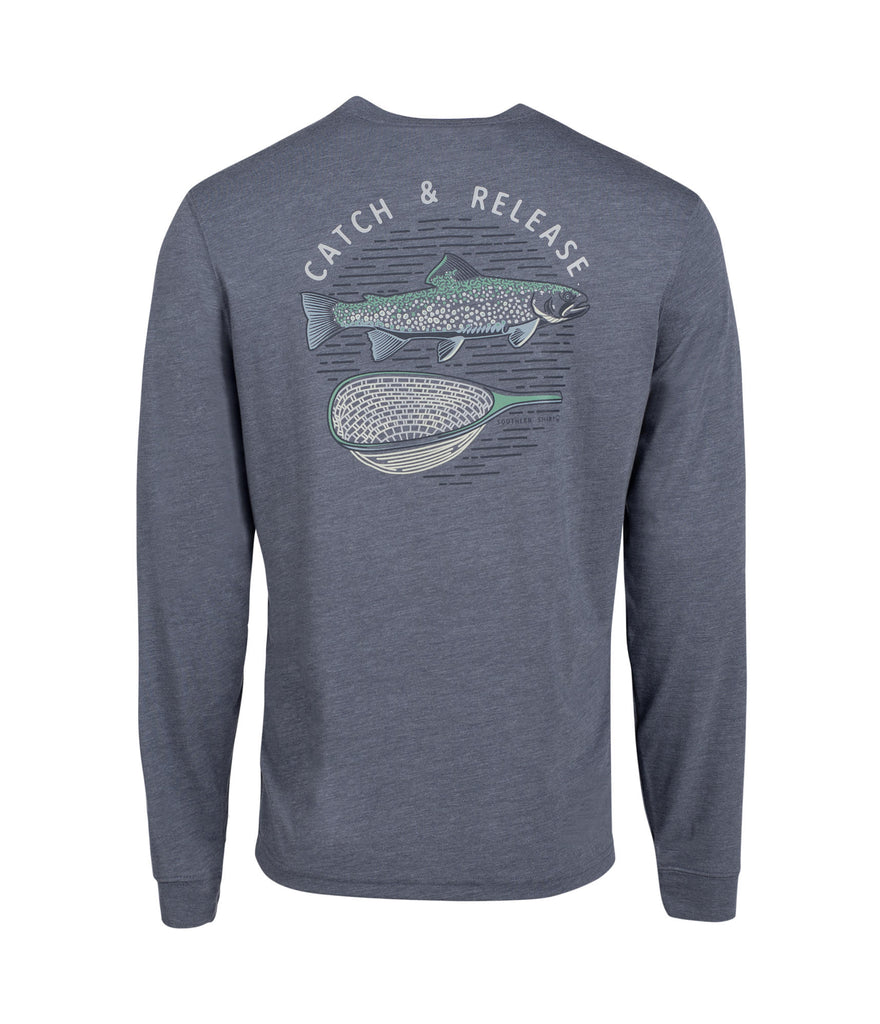 Southern Shirt Company Long Sleeve Catch and Release Tee- Slate Blue