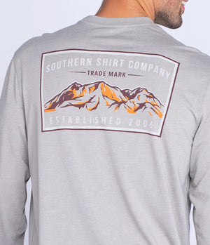 Southern Shirt Company Long Sleeve Mountain Stamp Tee- Wild Dove