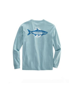 Vineyard Vines Long Sleeve Tarpon Fly Tee- Seacliff Blue