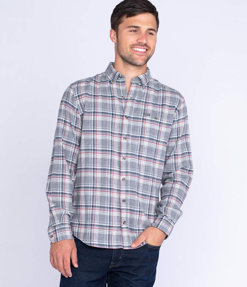 Men's Southern Shirt Company Kirkwood Heather Flannel- Grey Ridge