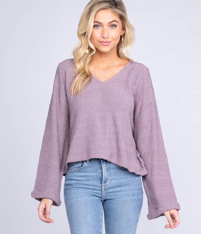 Women's Southern Shirt Company Boucle V-Neck Sweater- Purple Gumdrop
