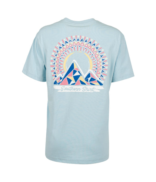 eb4e96cdbc0f Southern Shirt Company Short Sleeve Mosaic Mountains Tee- Dream Blue – SoCo  Apparel