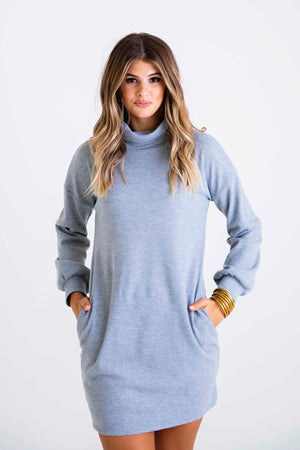Women's Solid Waffle Knit Turtle Neck Dress- Heather Grey