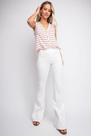 Women's Pull On Flares- White