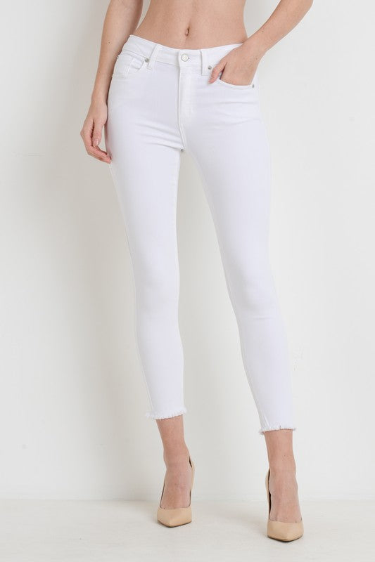 Women's Frayed Cropped Skinny Jeans- White
