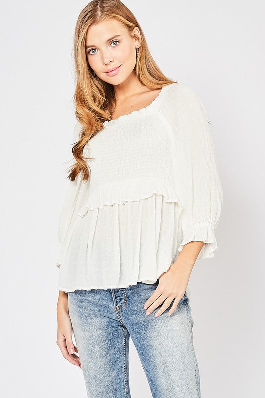 Women's Dotted Smocked Top- Off White