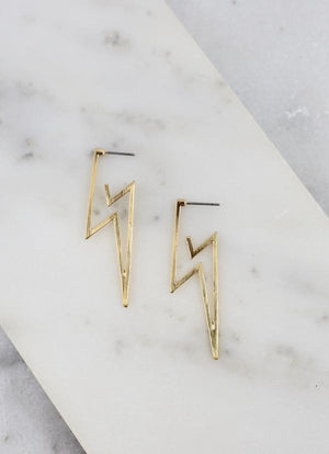 Grant Metal Lightning Bolt Post Earrings- Gold