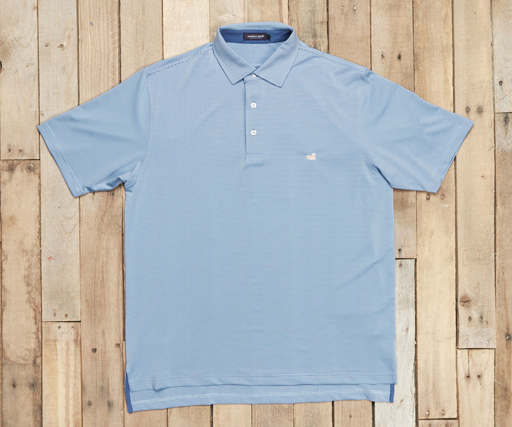 Men's Southern Marsh Bermuda Johnson Stripe Polo- French Blue