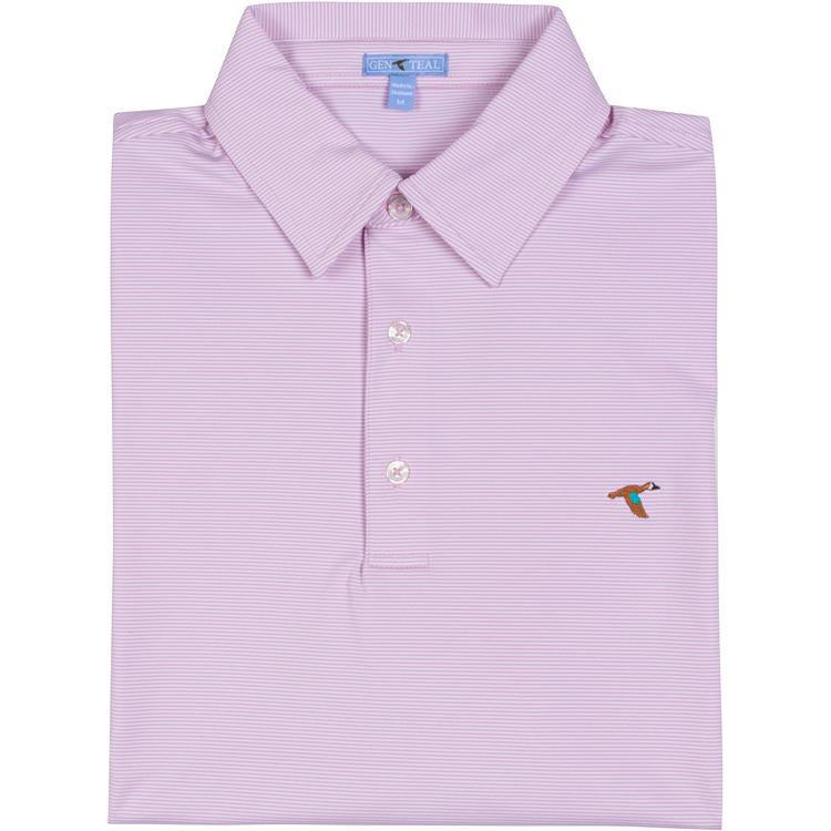 Men's GenTeal Apparel Pinstripe Performance Polo- Luau