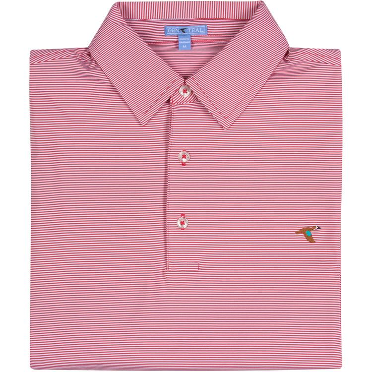 Men's GenTeal Apparel Pinstripe Performance Polo- Curry