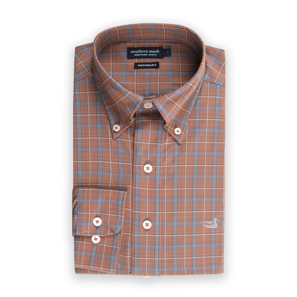 Men's Southern Marsh Bastrop Performance Check Button Down- Orange/Navy