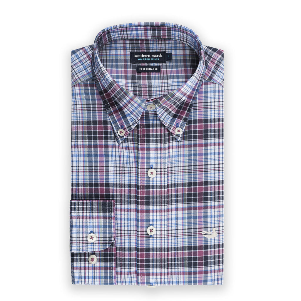 Men's Southern Marsh Hays Performance Check Button Down- Wine