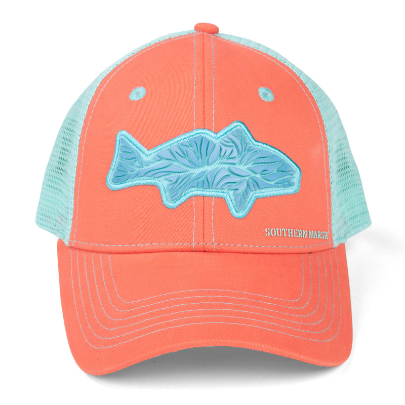 Southern Marsh Delta Trucker Hat- Coral