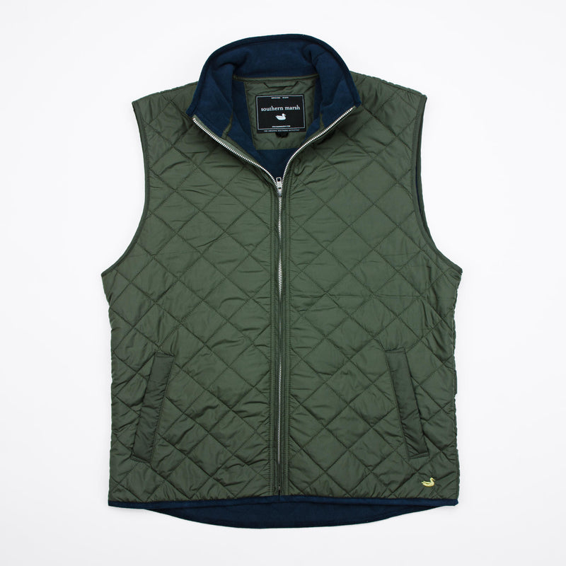 Southern Marsh Marshall Quilted Vest- Dark Green