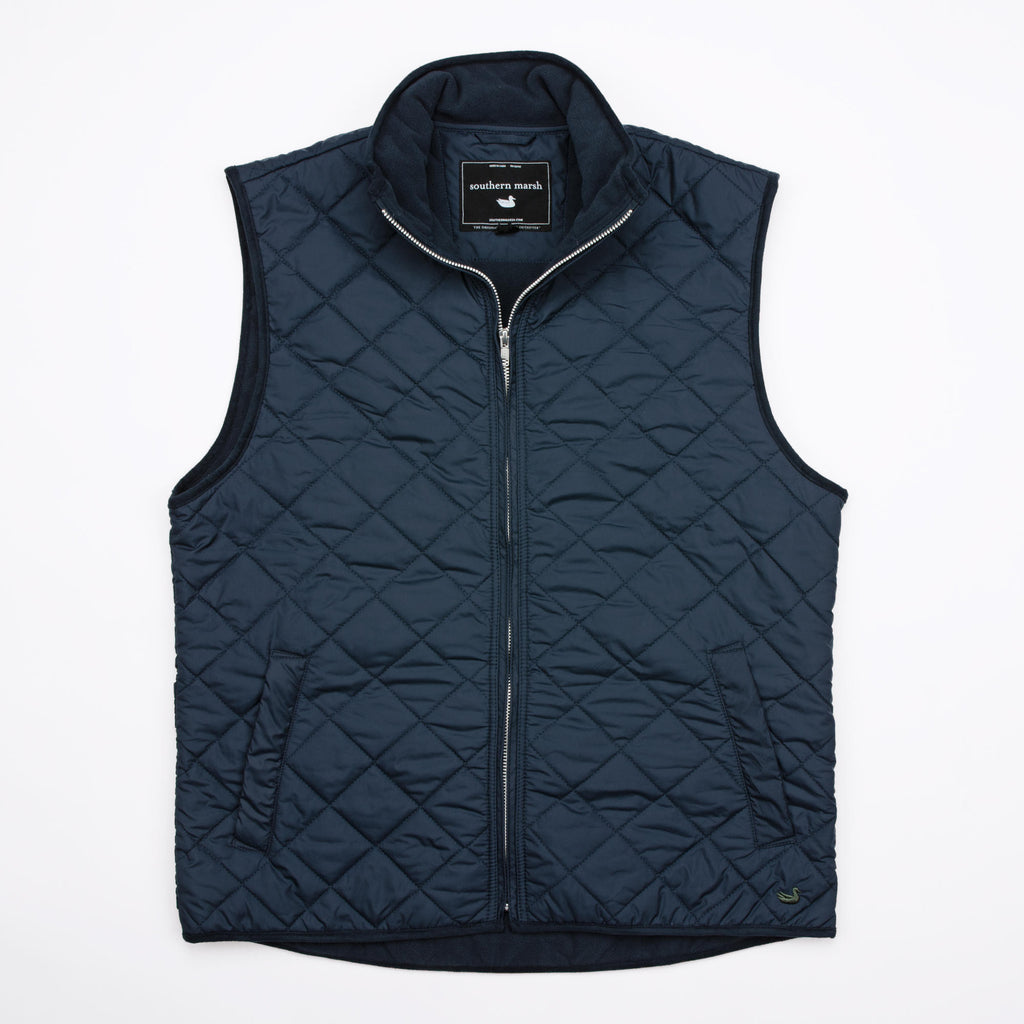 Southern Marsh Marshall Quilted Vest- Navy