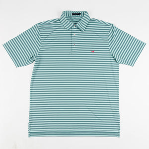 Men's Southern Marsh Bermuda Hamilton Stripe Polo- Sage/Teal