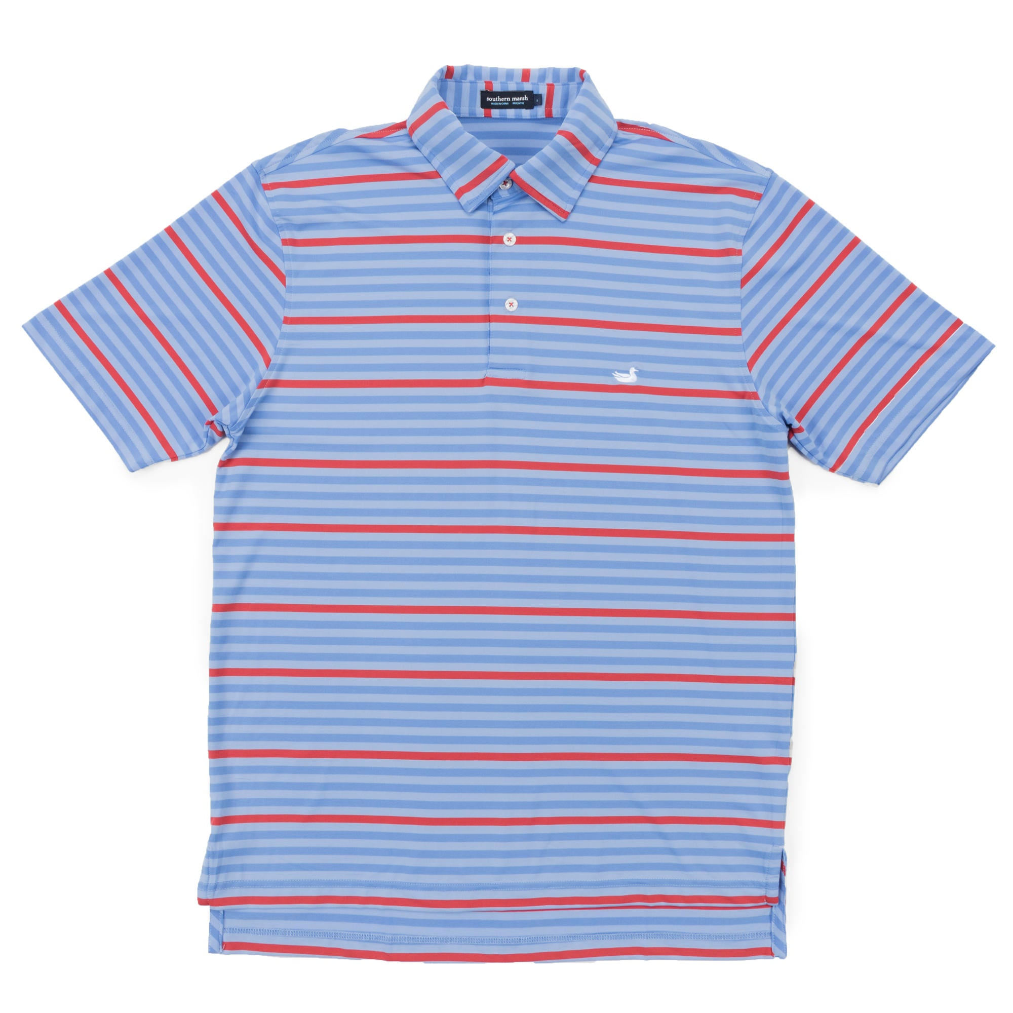 Men's Southern Marsh Newberry Performance Polo- French Blue/Red