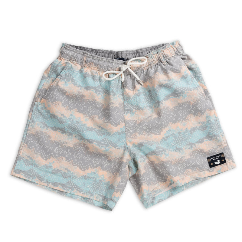 Men's Southern Marsh Shoals Mayan Watercolor Swimtrunks- Burnt Taupe/Peach