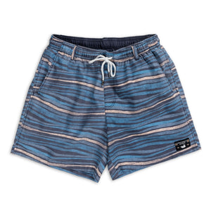 Men's Southern Marsh Shoals Waves Swimtrunks- Navy/Peach