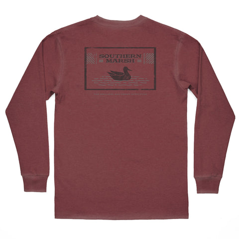 Vineyard Vines Long Sleeve Football Whale Tee- Crimson