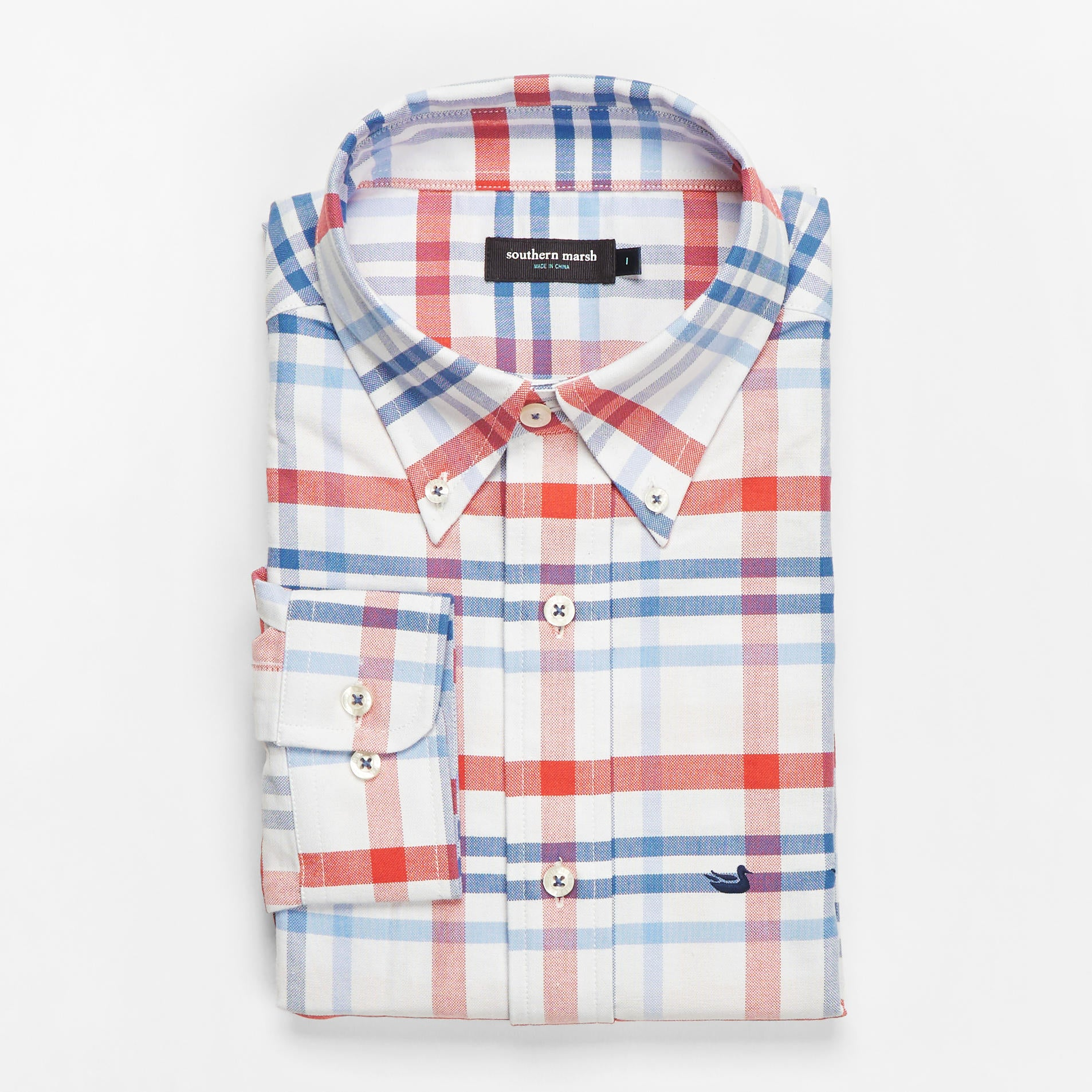 Men's Southern Marsh Belfort Oxford Shirt- Red/Navy
