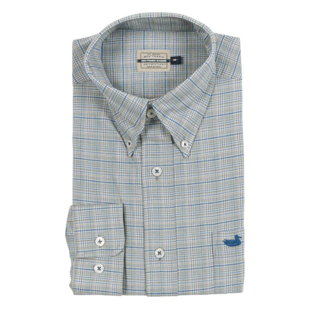 Men's Southern Marsh Davidson Washed Check Dress Shirt- Dark Green/Blue