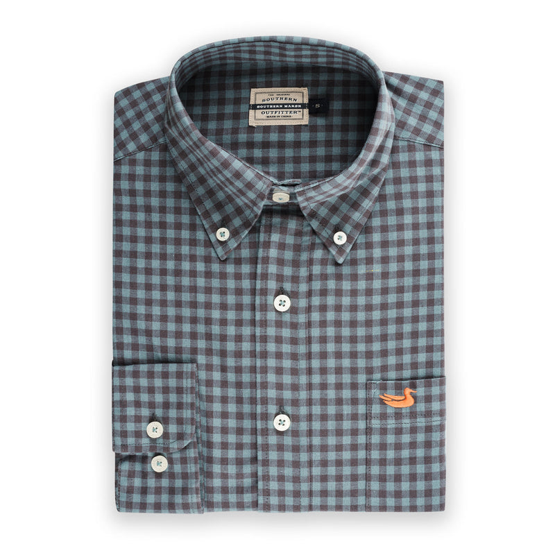 Men's Southern Marsh Sumner Washed Gingham Button Up- Midnight Grey/Dark Green