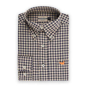 Men's Southern Marsh Sumner Washed Gingham Button Up- Navy/Burnt Taupe