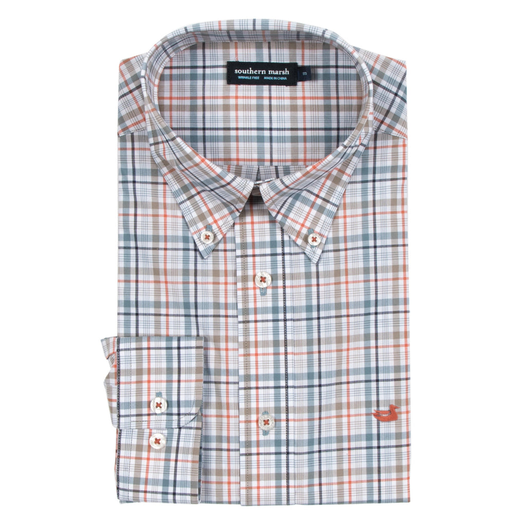 Men's Southern Marsh Calhoun Check Dress Shirt- Navy/Burnt Taupe