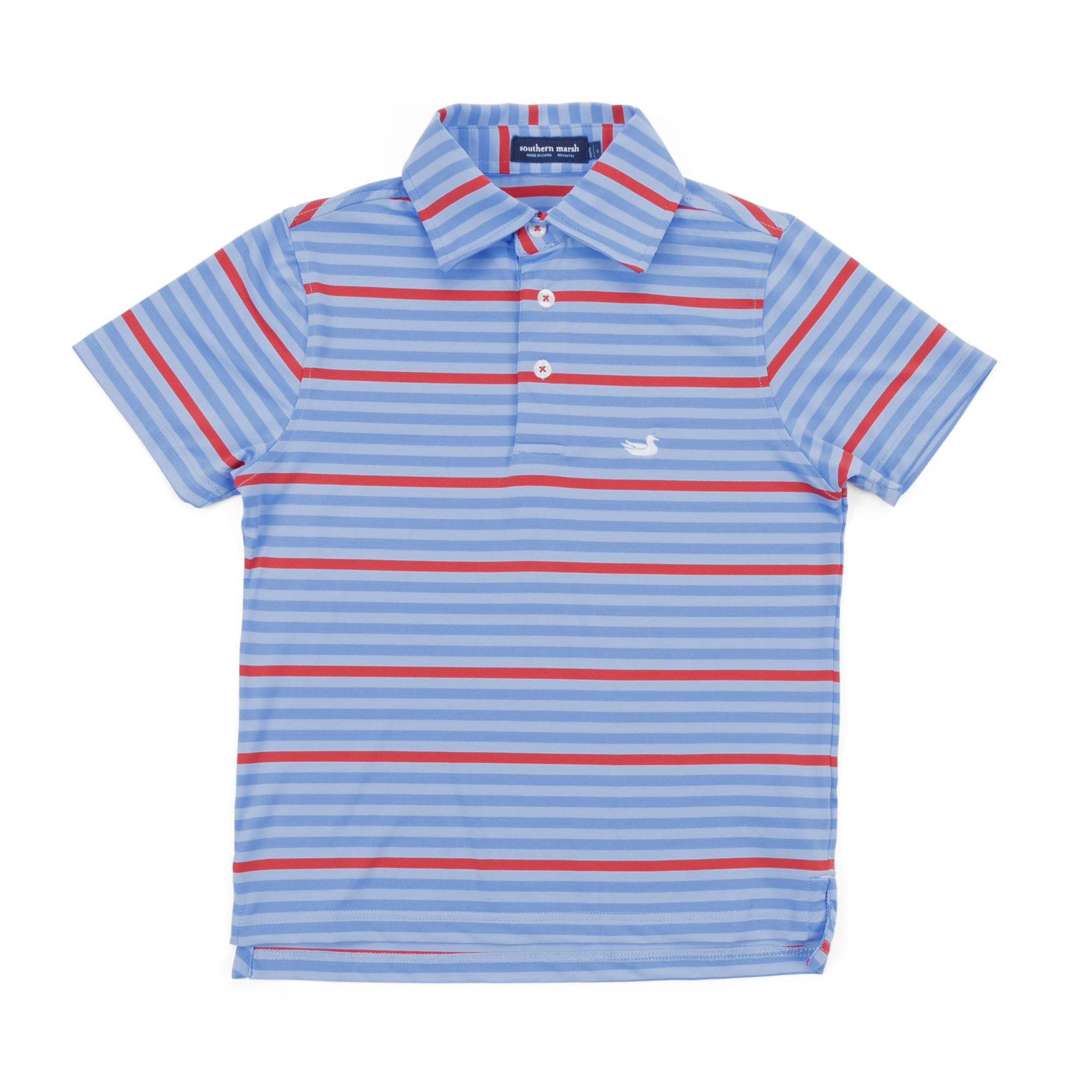 Youth Southern Marsh Newberry Performance Polo- French Blue/Red
