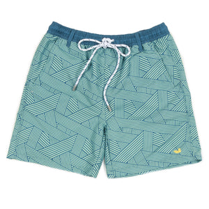Youth Southern Marsh Dockside Swim Trunks- Fractured Lines- Slate/Mint