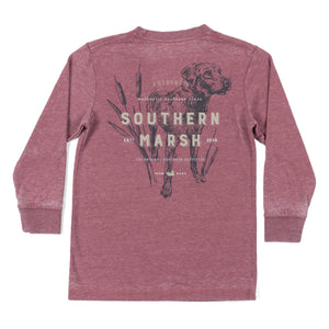 Youth Southern Marsh Long Sleeve Dog Seawash Tee- Crimson