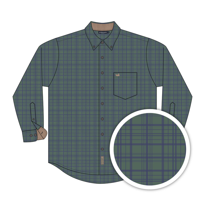 Youth Southern Marsh Cannon Flannel- Dark Green/Navy