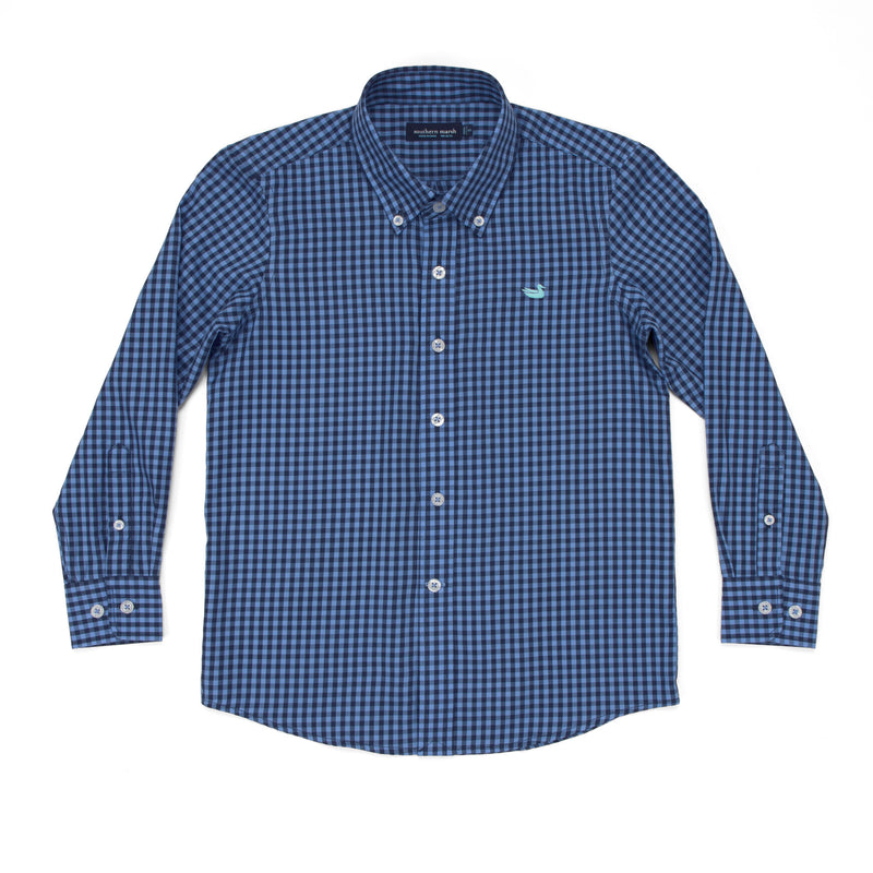 Youth Southern Marsh Memphis Gingham Dress Shirt- Navy