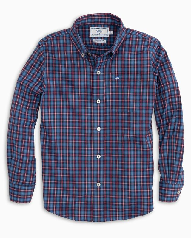Youth Southern Tide Blitzen Plaid Intercoastal Performance Sport Shirt- Classic Blue