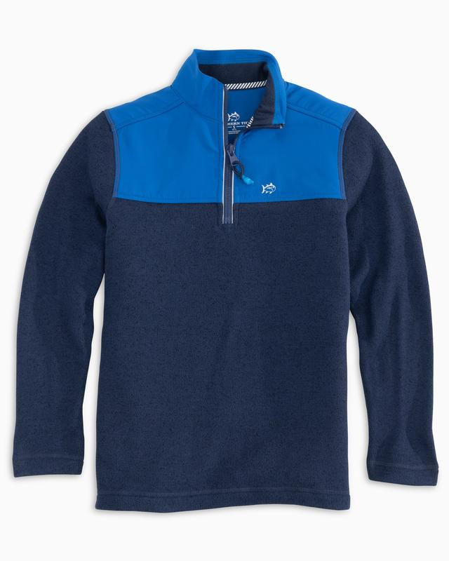 Youth Southern Tide Cottage Sweater Fleece Quarter Zip- True Navy