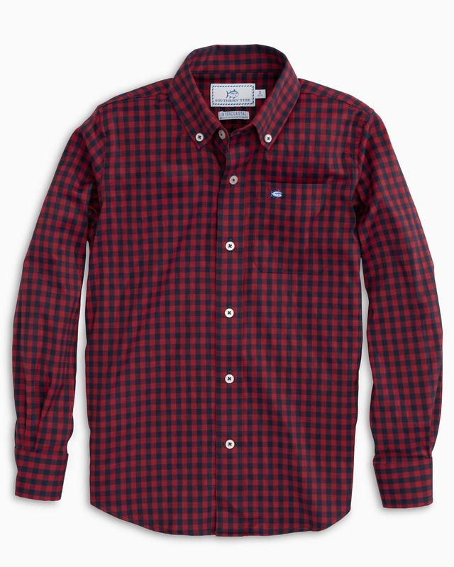 Youth Southern Tide Donner Gingham Intercoastal Performance Sport Shirt- Chili Pepper