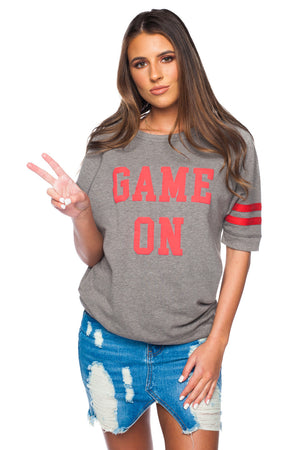 Women's Charlie Game On Tee- Grey
