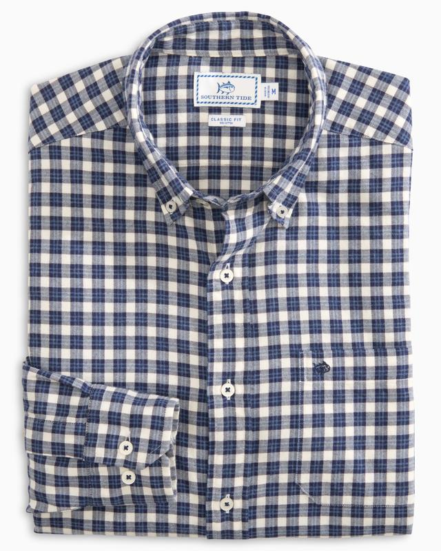 Men's Southern Tide Cutwater Check Button Down- Madras Blue