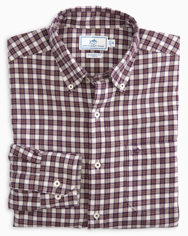 Men's Southern Tide Cutwater Check Button Down- Royal Purple