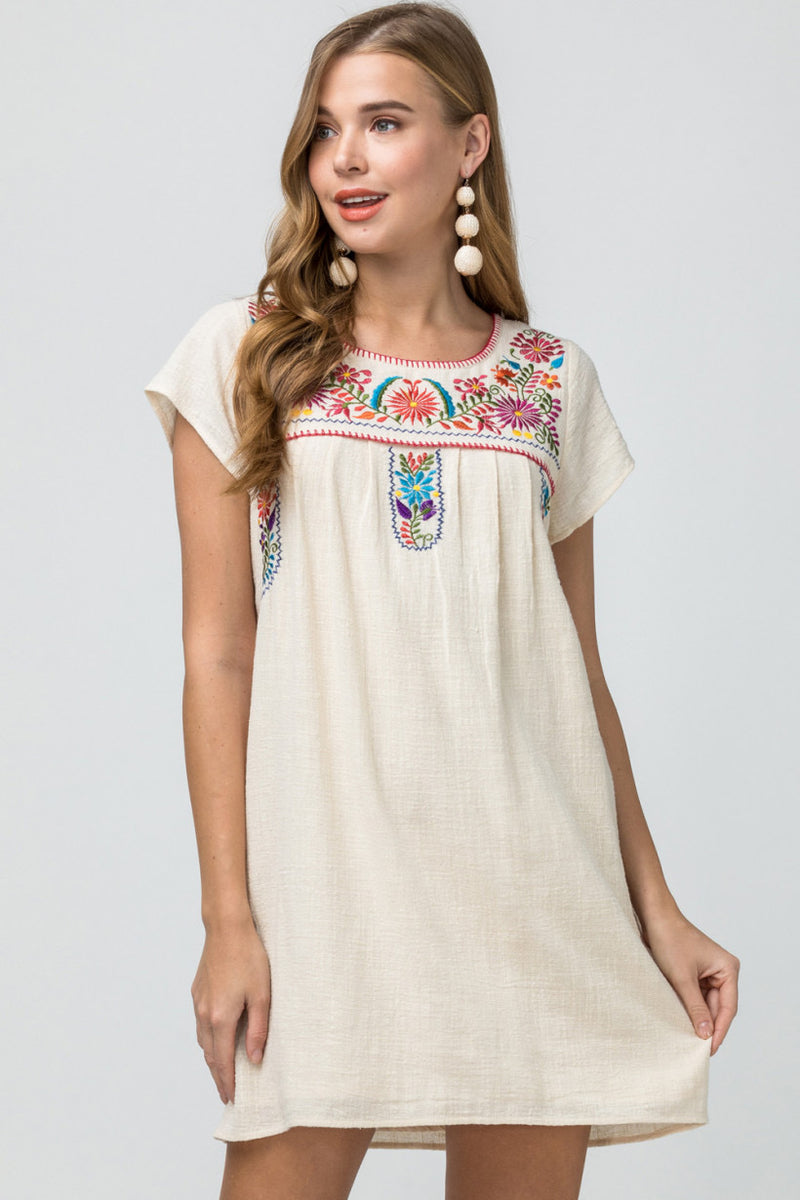 Women's Embroidered Woven Dress- Natural