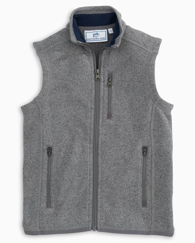Youth Southern Tide Samson Peak Sweater Fleece Vest- Heather Steel Grey