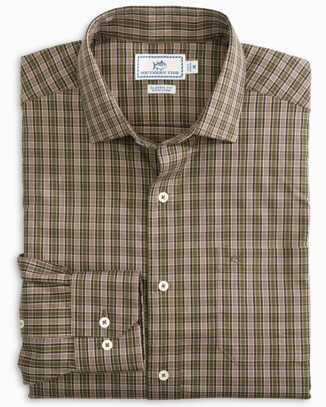 Men's Southern Tide Loggerhead Plaid Button Down- Dark Sage