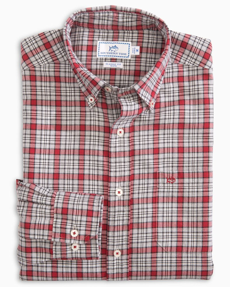Men's Southern Tide Topside Plaid Button Down- Chili Pepper