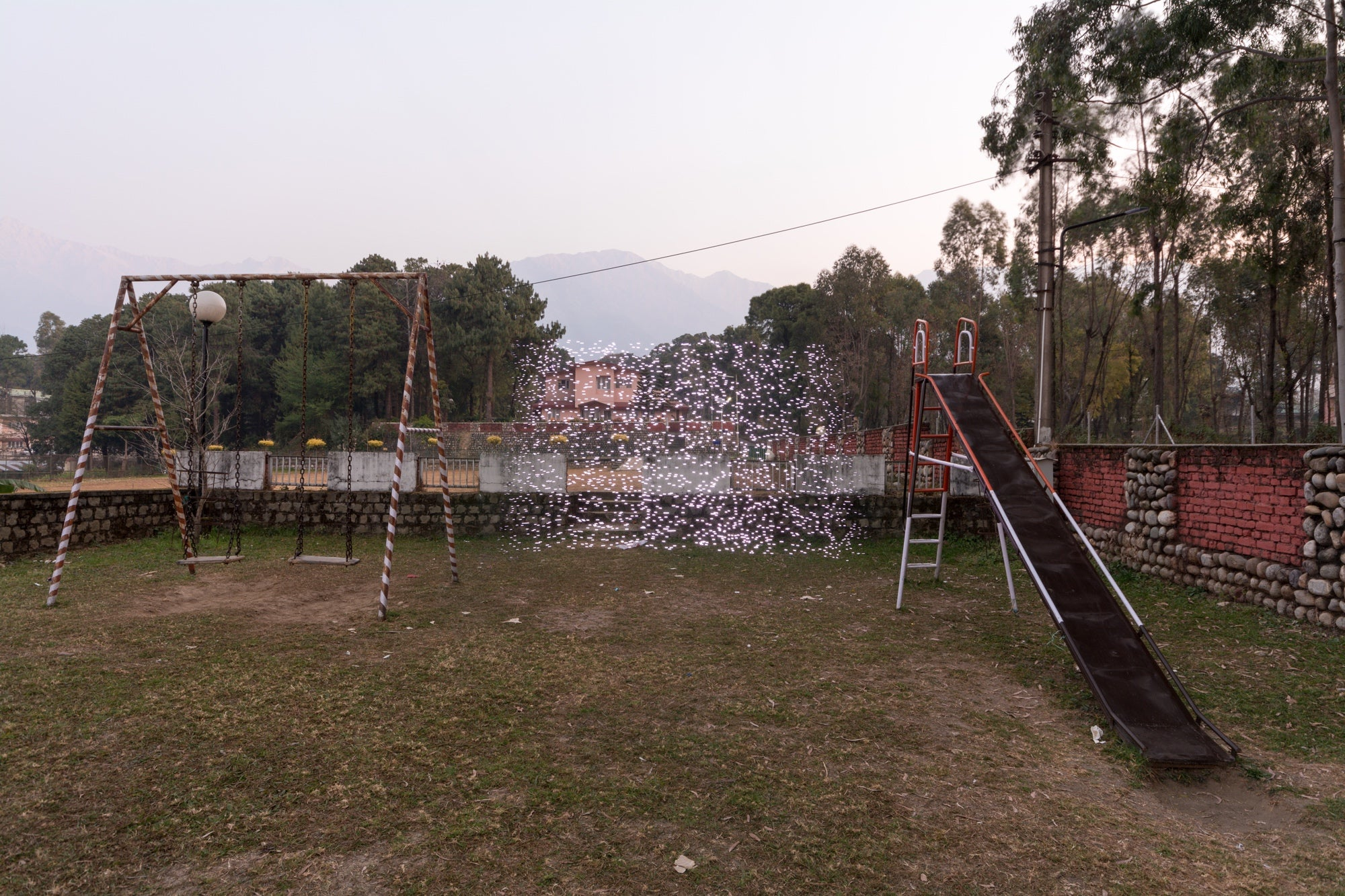 Playground at the Institute of Himalayan Biotechnology, Palampur, India - PM2.5 30 - 40 micrograms per cubic meter