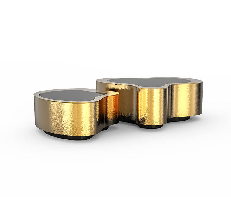 BOCA DO LOBO WAVE HAMMERED BRASS CENTER TABLE (BIG)