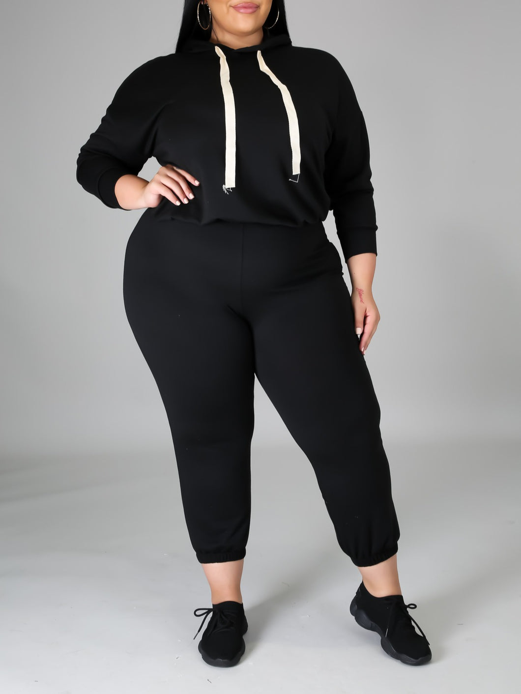 Lady Like Black Jogger Legging Set