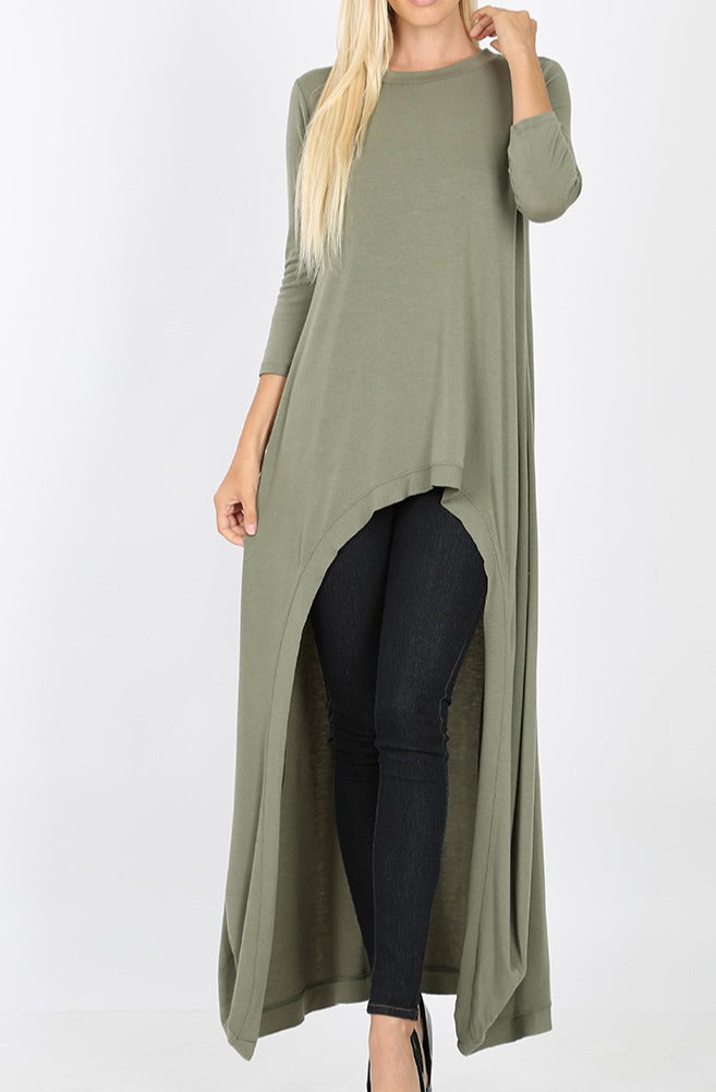 Mid Sleeve High Low Lt Olive